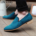 LIN KING New Autumn Men Casual Shoes Square Heel Suede Leather Shoes Leisure Square Heel Slip On Pointed Toe Lazy Shoes Male