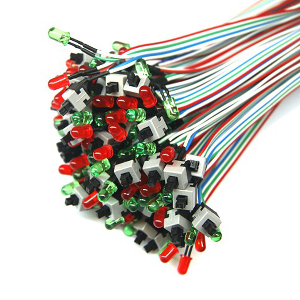 ATX PC Compute Motherboard Power Cable 2 Switch On / Off / Reset with LED Light 50CM R g126y 2pcs red led light 25 31mm spst 4pin on off boat rocker switch 16a 250v 20a 125v car dashboard home high quality cheaper