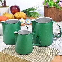 Latte Art Edelstahl Milchaufschäumung Krug Krug Espresso Krug Kaffee Getränke Barista Handwerk Tools Grün