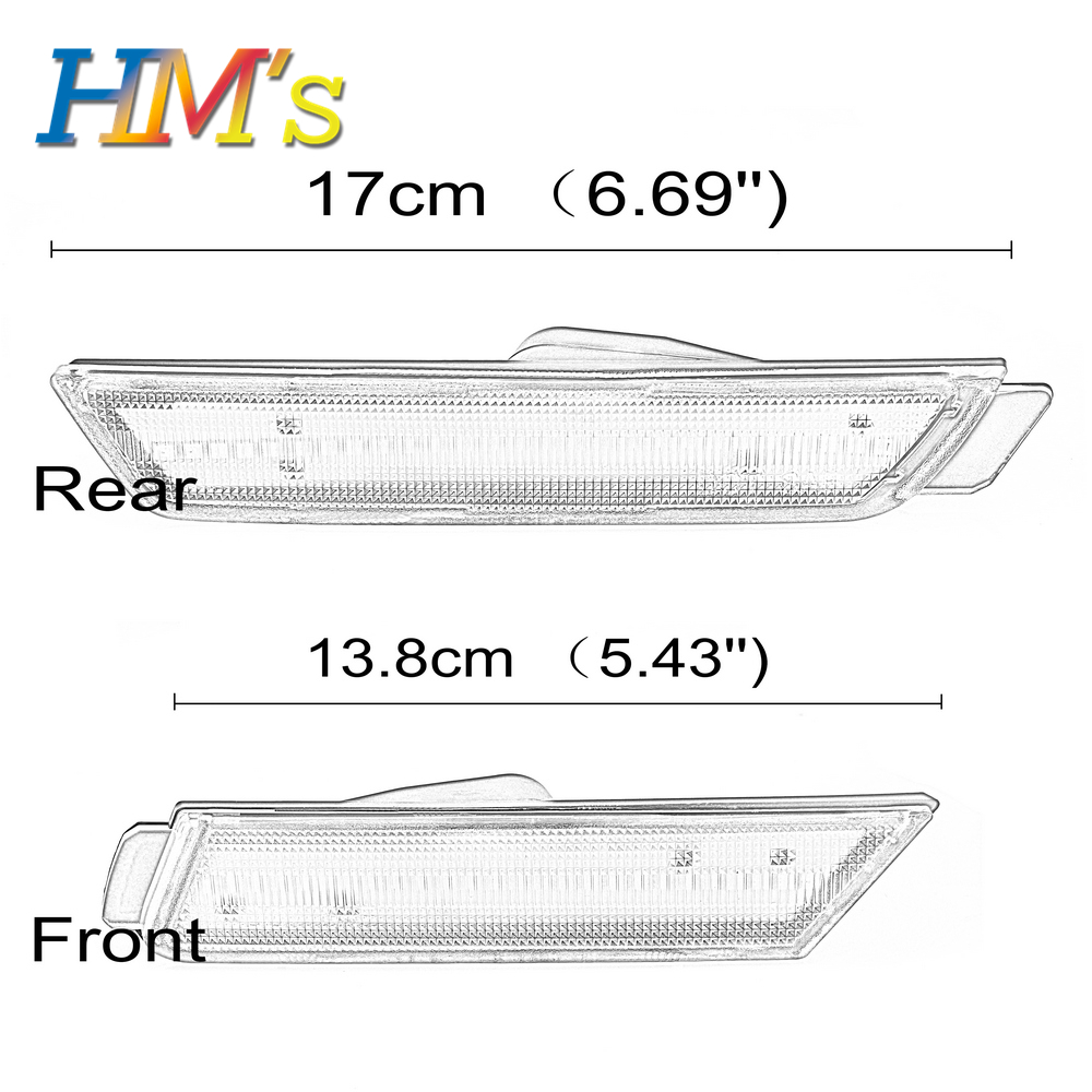 (F+R) For Chevy Camaro 2010 2011 2012 2013 2014 2015 Car Front Amber Rear Red Side Marker Lamps Turn Signals SMD LED Light (5)