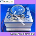 20-100W LED Aluminium Heat Sink Cooling Fan+  Reflector Bracket+44mm Lens 90-120degree