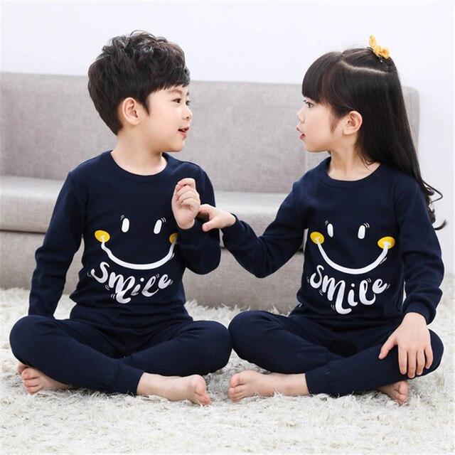 Kids Pajamas Sets Girls Cartoon Sleepwear Boys Cotton Long Sleeve Nightwear Sets Children Pyjamas Baby O Neck Pajamas Suit D0092
