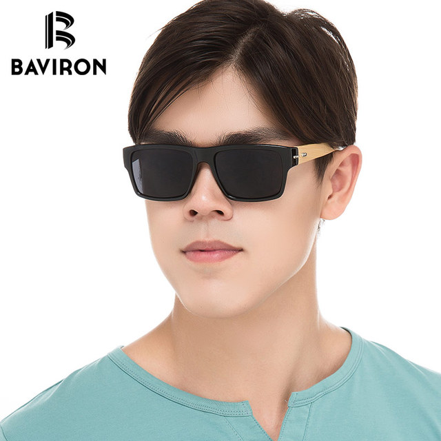 d367619f74e BAVIRON Real Bamboo Sunglasses Men Mirrored Rectangle Sun Glasses Women  Classic Design Outfits Stylish Glasses Super Deal Gafas