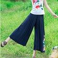 Womens Vintage Floral Embroidery Loose Wide Leg Pants Stretch Waist Cotton Linen Causal Trousers Summer Slacks pantaloons