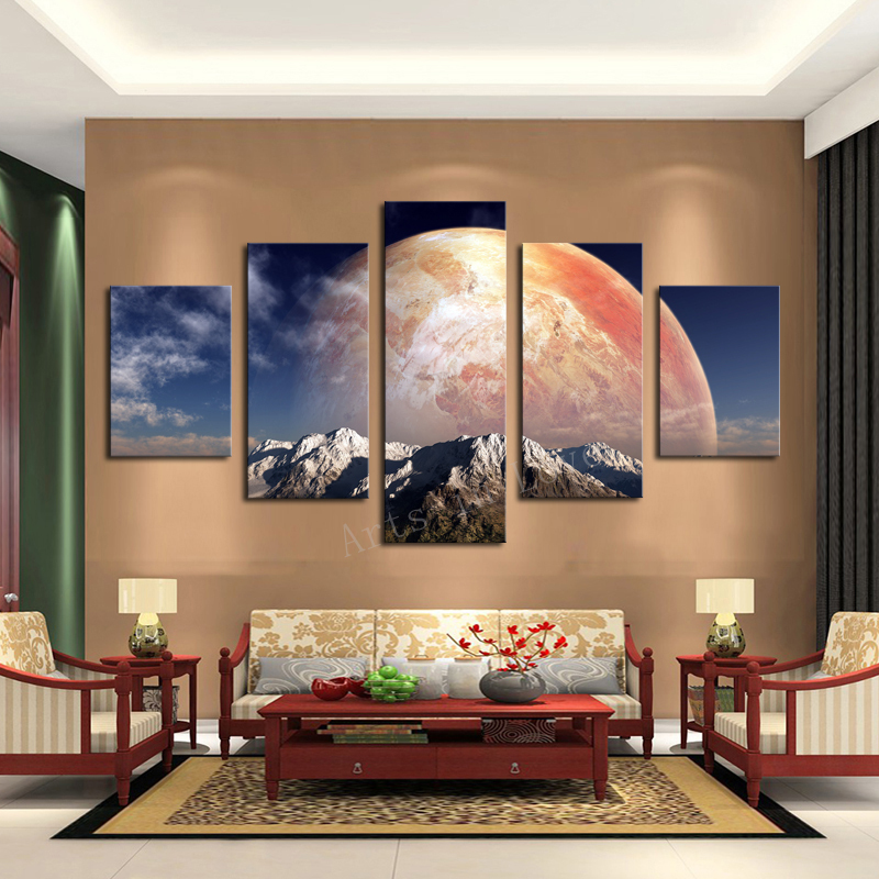 5 Pieces/set Canvas Print Huge HD Red Planet Wall Art Picture For Living  Room Painting Artwork Modular Picture Unframed In Painting U0026 Calligraphy  From Home ...
