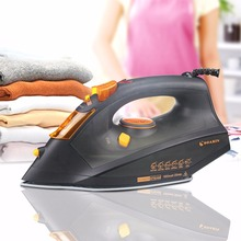 Send from Russia 1 PCS Black Steam Iron Portable Temperature Adjusted Ceramic Base Handheld Household Electric Iron