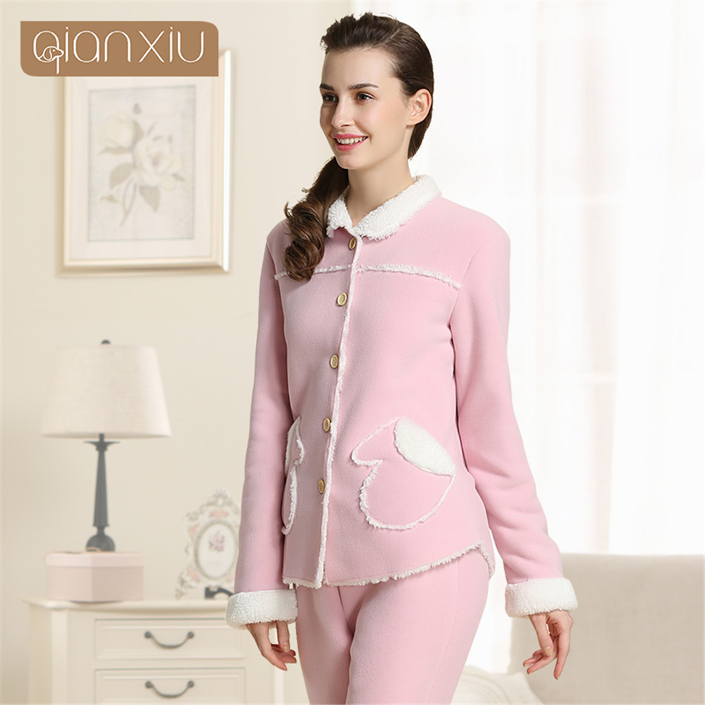 666ca8909720 Qianxiu Brand Winter Thermal Thick Women Pajamas Sets Cashmere Home Clothes  Lounge Tops   Bottoms Women s lambs Warm Pyjamas-in Pajama Sets from  Underwear ...