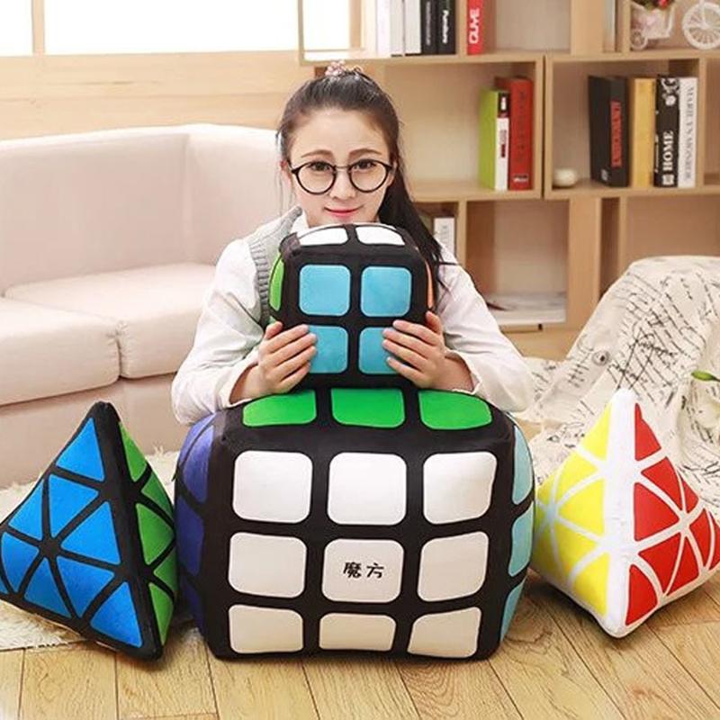 Magic Cube Plush Pillow Kids Toys Cartoon Cube Modeling Soft Triangle Cubic Cushion Creativity Plush Toys For Children Gifts