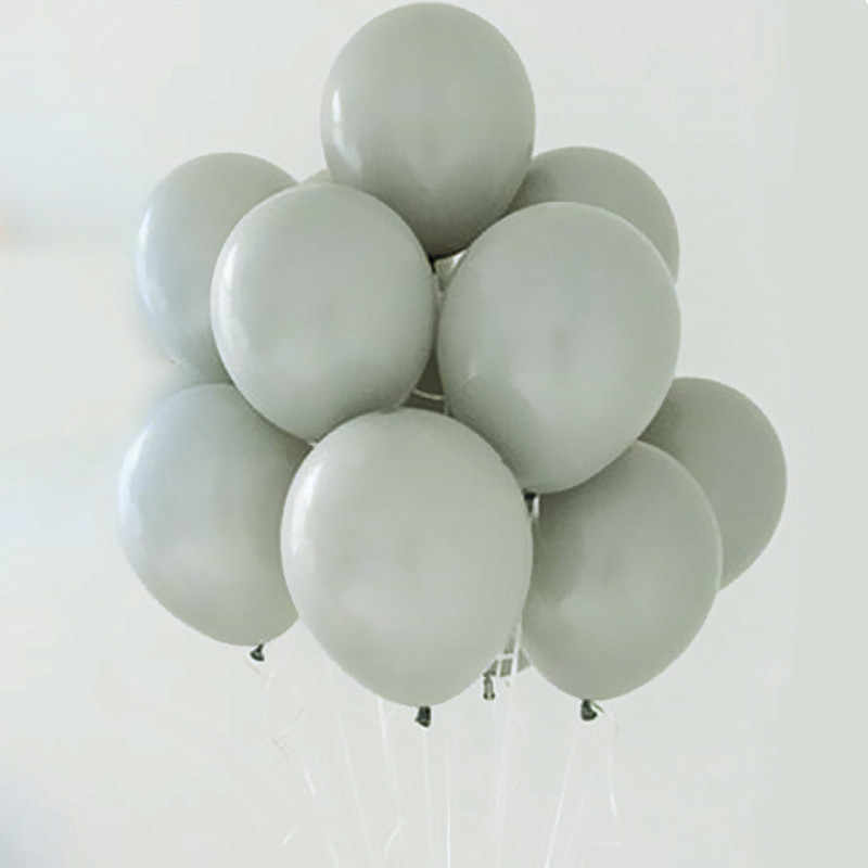 New Popular Gray Balloons 12inch White Matte Latex Helium Inflatable Pearl Balloons Wedding Birthday Party Decor Ballon Gray Bal