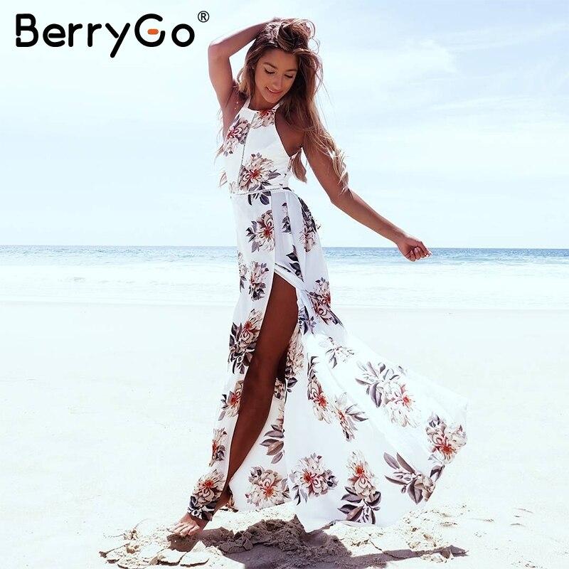 BerryGo цветочный принт Холтер шифоновое длинное платье женское с открытой спиной 2018 макси платья vestidos сексуальное Белое пляжное летнее плать...