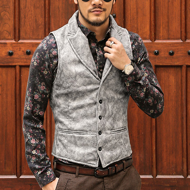 Mens Retro Single Breasted Dress Suit Vest Men Formal leather wool waistcoats Suit Gilet Slim Business Jacket top hommes marque
