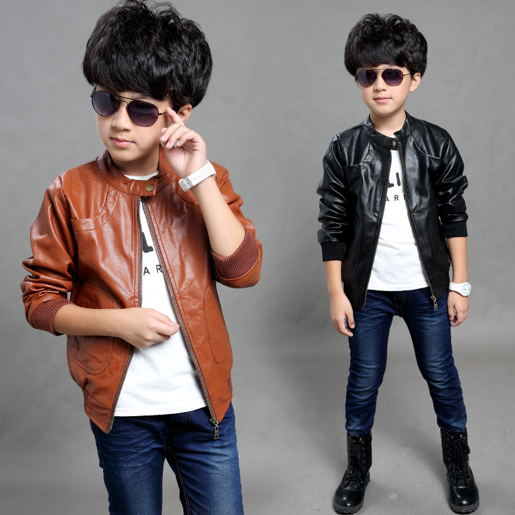 2018 spring childrenclothes boys jackets casual long sleeve zipper boy PU leather jackets for boys big kids pu jacket tops