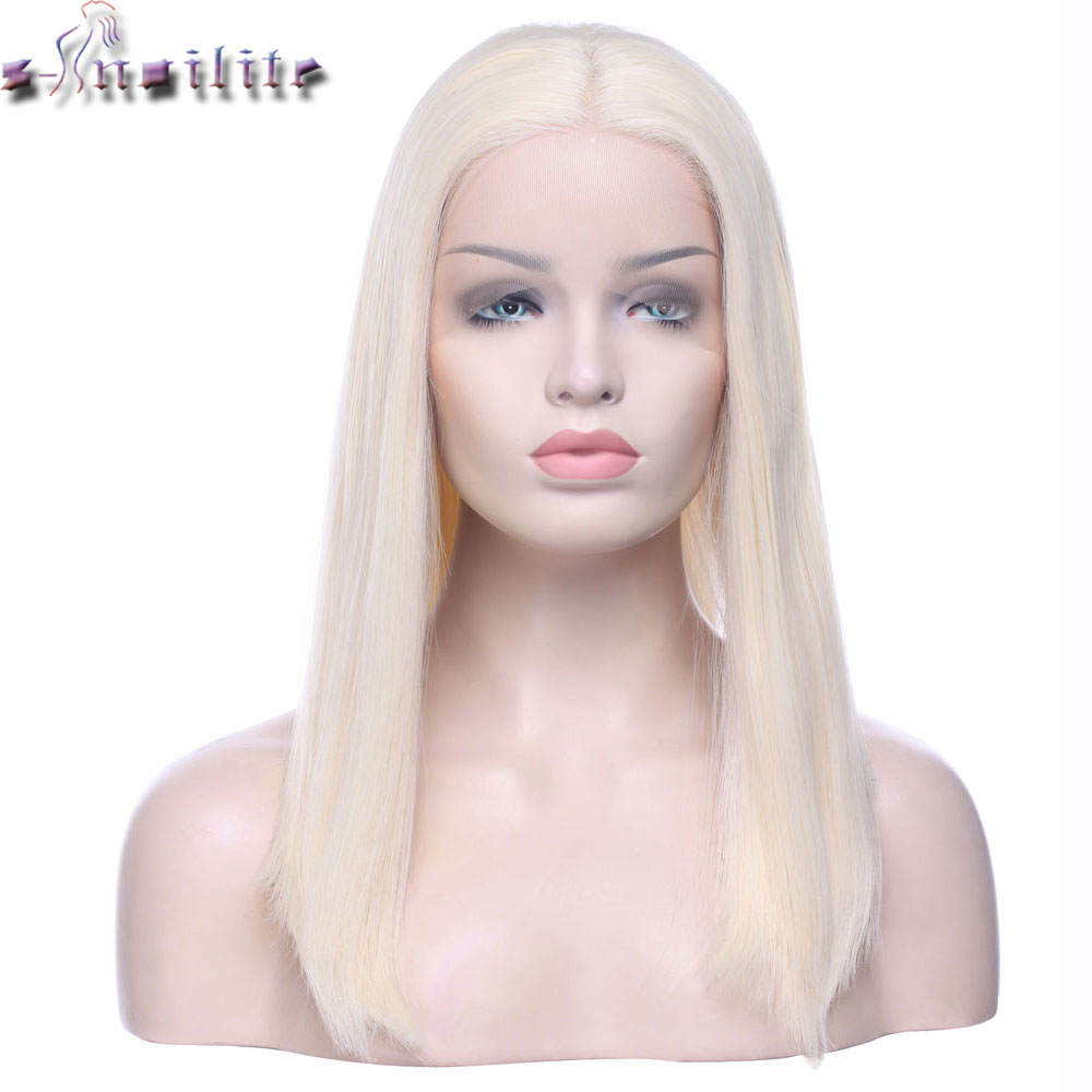 s-noilite Ombre Blonde Glueless Short Bob Lace Front Wigs 2 Tone Color Heat Resistant Synthetic Hair Replacement Wig For Women