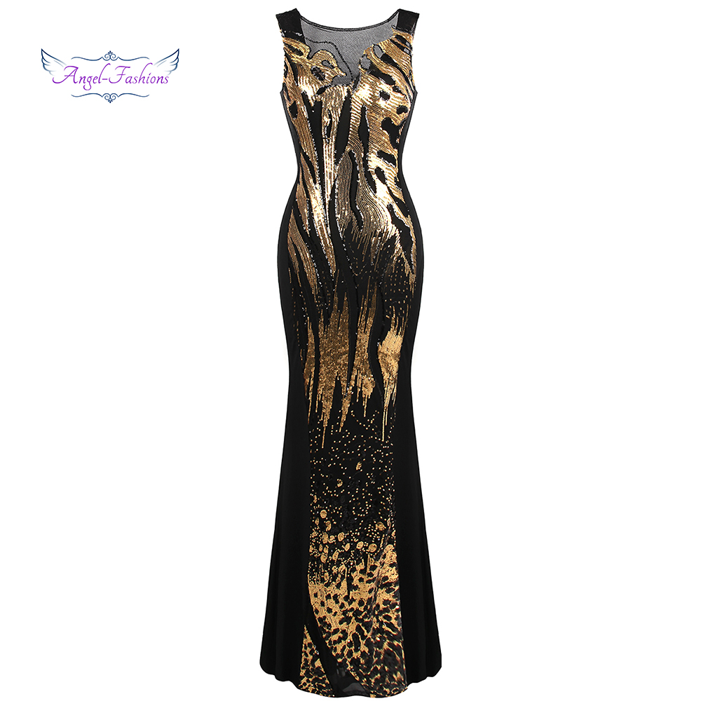 Angel-fashions Long   Evening     Dresses   Sheer Round Neck Sequin Splicing Backless Mermaid Gold 348