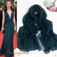 100% natural pure silk winter warmer scarfs high quality silk cc scarf women fashion brand designer solid dark green silk shawls
