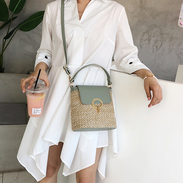 Oswego Bags For Women 2019 Summer New Simple Straw Beach Bag Casual Texture Crossbody Messenger Straw Bucket Bag Ladies Purses