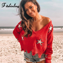 Fitshinling V Neck Autumn Women Sweaters Pullovers Stars Irregular Red Jumper Knitted Pull Femme 2019 Fashion Ladies Sweater New