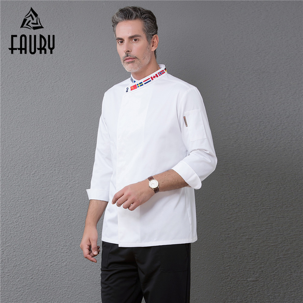 Men Long Sleeve Embroidery Collar Restaurant Top Chef Coffee Shop Bakery Waiter Barber Work Jackets Uniforms Wholesale Overalls
