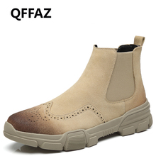 QFFAZ Autumn Fashion Casual For Men Ankle Chelsea Boots Bullock Male Shoes Cow Suede Leather Quality Motorcycle Men Boots