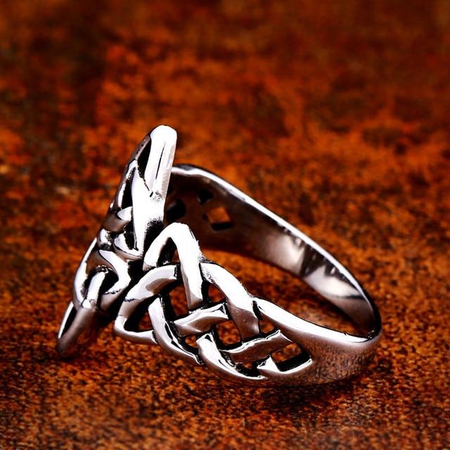 Soldat en acier celtique viking Nordise anneau en acier inoxydable populaire nature signet femmes bijoux de fiançailles 5