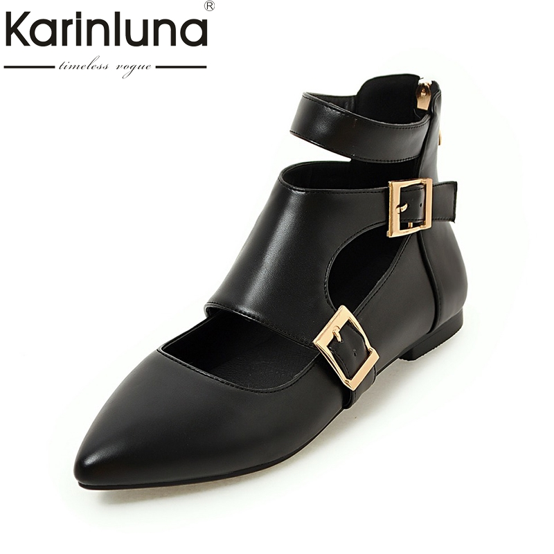 KarinLuna Extra Size 34-43 casual Woman shoes Pointed Toe Comfortable Spring summer Flats buckles decoration plue size 34 49 spring summer high quality flats women shoes patent leather girls pointed toe fashion casual shoes woman flats