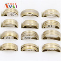 AMGJ Clearance Wholesale Lots 10Pcs Men's Golden Stainless Steel Ring Notch Printed Fashion Lover Jewelry