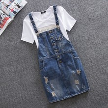 Denim Dress Women 2017 Summer Autumn Fashion Ripped Hole Leisure Cowboy Strap Plus Size XS-8XL Vestidos