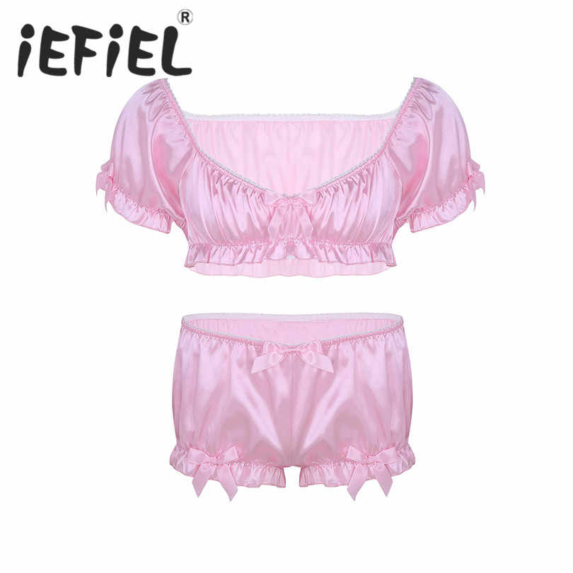 Detail Feedback Questions about iEFiEL Fashion 2Pcs Mens Sissy Lingerie Set  Soft Silky Short Sleeves Crop Top with Bloomers Boxer Underwear Set Sexy  Panties ...