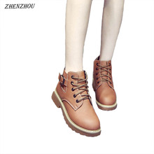 Martin boots female spring Women's shoes 2018 new short tube single boots high to help shoes autumn and winter short boots