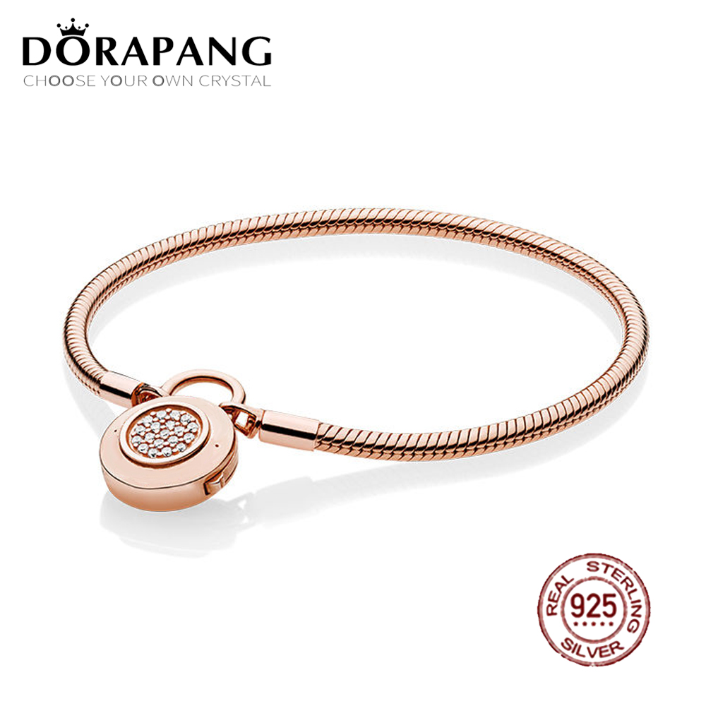 DORAPANG 100% 925 Sterling Silver Classic Logo Charm Lock Smooth Rose Bracelet Signature Padlock Clear CZ DIY Bead Jewelry 925 sterling silver bracelet rose logo signature padlock smooth snake bracelet bangle fit bead charm diy pandora jewelry