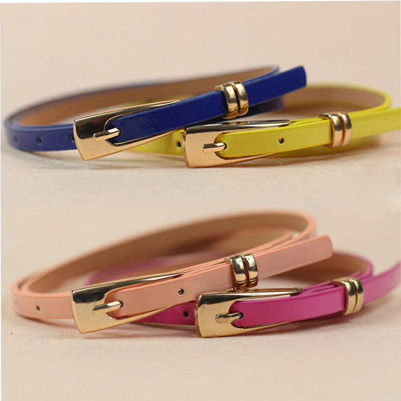 1 Pc 15 Candy Colors Womens Leather Belt Bow Skinny Thin Dress Belt Waist Belt Waistband Hot Selling