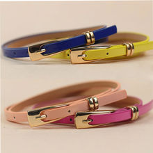 1 pc 15 Candy Colors Womens Leather Belt Bow Skinny Thin Dress Belt