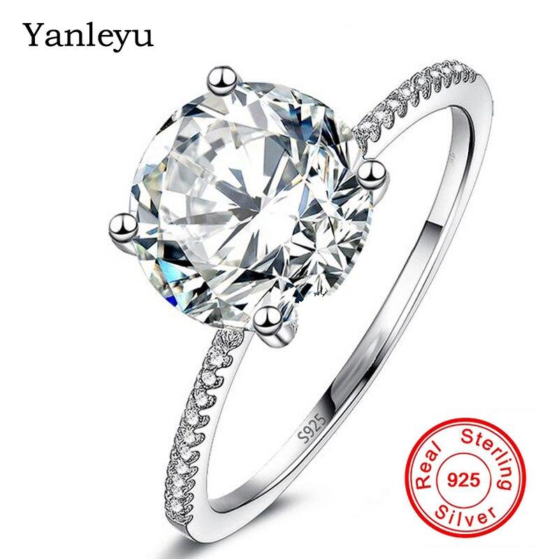 Yanleyu De Luxe 2 Carat CZ Diamant Anneaux pour les Femmes De Mariage Anniversaire Solitaire Anneau Solide 925 Bijoux En Argent Sterling PR006