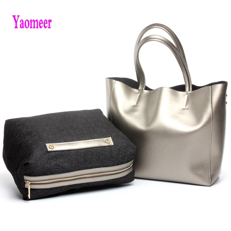 100% Genuine Leather Composite Bag Women Handbag High Quality Silver Shoulder Crossbody Bag Luxury Zipper Casual Tote Clutch a08