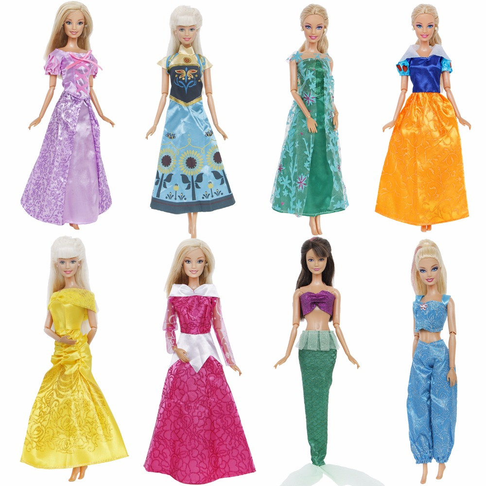 Classic Fairy Tale Dress Copy Cinderella Sleeping Beauty Mermaid Snow White Princess Clothes For Barbie Doll Accessories