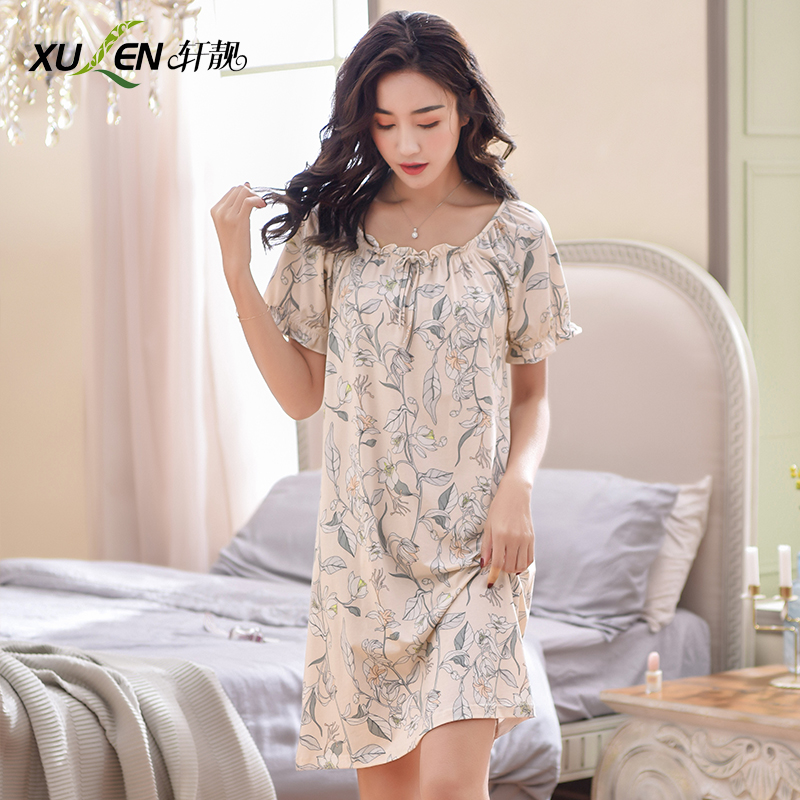 Women night dress cotton   nightgowns   and   sleepshirts   summer sleep wear plus size nightwear ladies hot night skirt