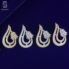 SISCATHY 2019 Trendy Cubic Zirconia Drop Pendant Drop Dangle Earrings For Women Luxury Geometric Indian Nigerian Wedding Earring цена