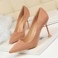 Women's high heels fashion sexy pedicure was thin high heel women's shoes stiletto high heel suede shallow mouth pointed shoes цены