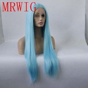 Image 2 - MRWIG Straight Synthetic Lace Front Wig Long Light Blue Hair Heat Resistant Middle Part 150%
