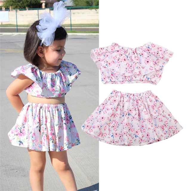 2e3e2ae668 New Kids Toddler Girl Clothing Set Lace Sleeveless Floral Crop Top Skirt  Cute Baby Girl Summer Clothes Outfit