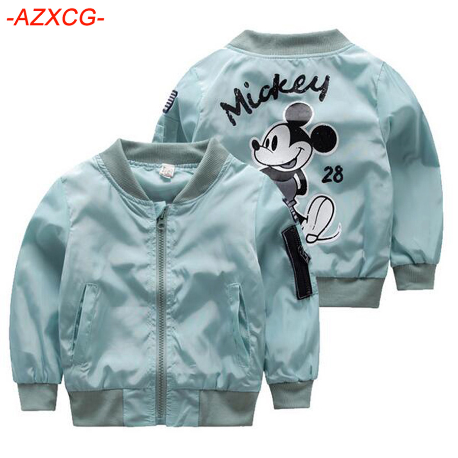 Cute Girls Mickey Jacket Kids Clothing Baby Girls Boys Coat Cartoon Printed Flight Jacket Autumn Boy Outerwear Children Clothes