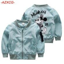 Куртка с Микки Маусом для девочек Одежда для детей возрастом от 1 года до 6 лет пальто для маленьких девочек и мальчиков летная куртка с рисунком Осенняя верхняя одежда для мальчиков детская одежда