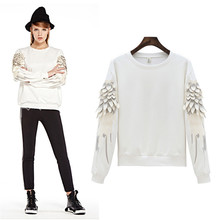 Hodisytian New Fashion Women/Men Hoodie Autumn O-neck Coat Feather Angel Wings Sleeve Casual Sweatshirt Pullover Sudaderas Mujer