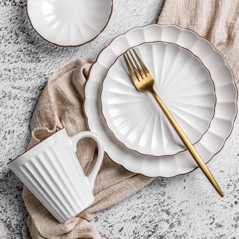 Hause geschirr Europäischen stil keramik geschirr gericht sätze steak platten reis schalen personalisierte tassen großhandel geschirr