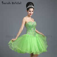 Luxury Beading Crystal Homecoming Dresses 2016 Hot Sale Green Tulle Girls Prom Dress Gowns Robes De