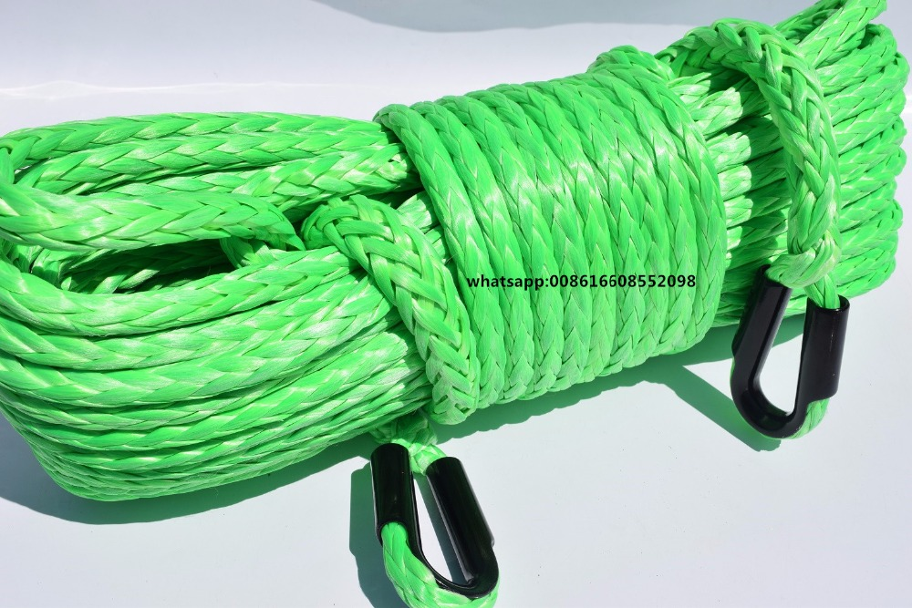 Green 12mm*45m Winch Rope Extension,ATV Winch Cable with stainless thimble,Synthetic Rope for ATV UTV