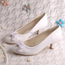 Пользовательские Весна Обувь Кружева Свадьба Женская Обувь Низком Каблуке Закрыты Носок Элегантное Платье