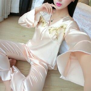 Image 2 - Женская шелковая пижама с длинным рукавом, шелковая пижама для отдыха, большие размеры, все сезоны