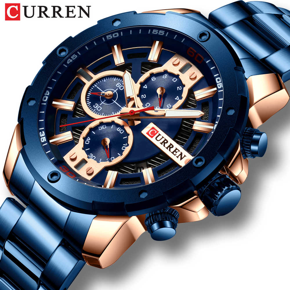 CURREN Men's Sport Quartz Watch Luxury Stainless Steel Wristwatches Fashion Chronograph for Male Clock Reloj Hombres