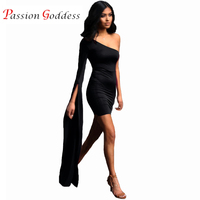 여성 섹시한 드레스 2017 파티 나이트 클럽 드레스 어깨 하나 플레어 소매 Bodycon 미니 짧은 파티 드레스 블랙 화이트 Vestidos